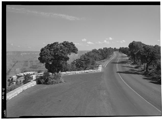 15.  25' WIDE TURNOUT WITH ROAD VIEW, FACING NNE. - West Rim Drive, Between Grand Canyon Village & Hermit Rest, Grand Canyon, Coconino County, AZ