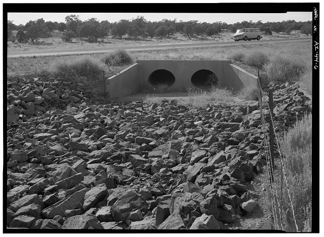 6.  CULVERT ON ENTRANCE ROAD EAST OF PARK BOUNDARY, FACING WNW. - East Rim Drive, Between South Entrance Road & park boundary, Grand Canyon, Coconino County, AZ