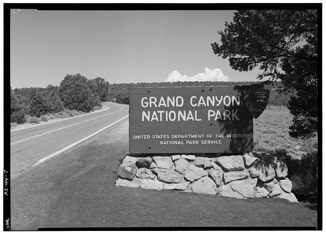 7.  PARK ENTRANCE SIGN, FACING NW. - East Rim Drive, Between South Entrance Road & park boundary, Grand Canyon, Coconino County, AZ