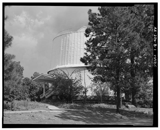 1.  FRONT ELEVATION, LOOKING EAST - Lowell Observatory, Clark Dome, 1400 West Mars Road, Flagstaff, Coconino County, AZ