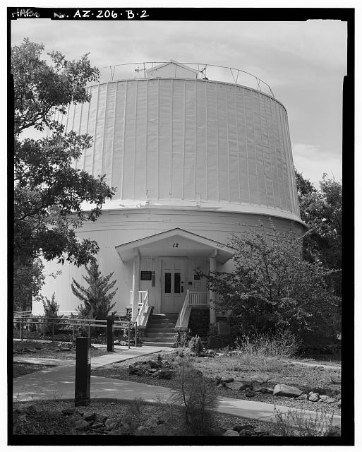 2.  FRONT ELEVATION, LOOKING SOUTH - Lowell Observatory, Clark Dome, 1400 West Mars Road, Flagstaff, Coconino County, AZ
