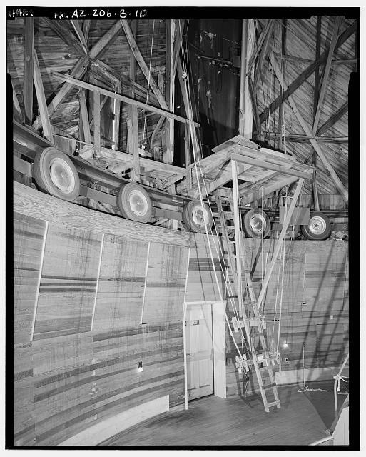 10.  INTERIOR DETAIL OF SOUTH WALL, TELESCOPE DOORS AT TOP CENTER. - Lowell Observatory, Clark Dome, 1400 West Mars Road, Flagstaff, Coconino County, AZ