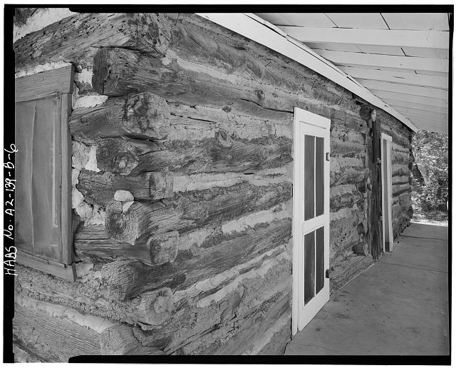 6.  DETAIL OF EAST FRONT - Faraway Ranch, Stafford-Riggs Cabin, Willcox, Cochise County, AZ