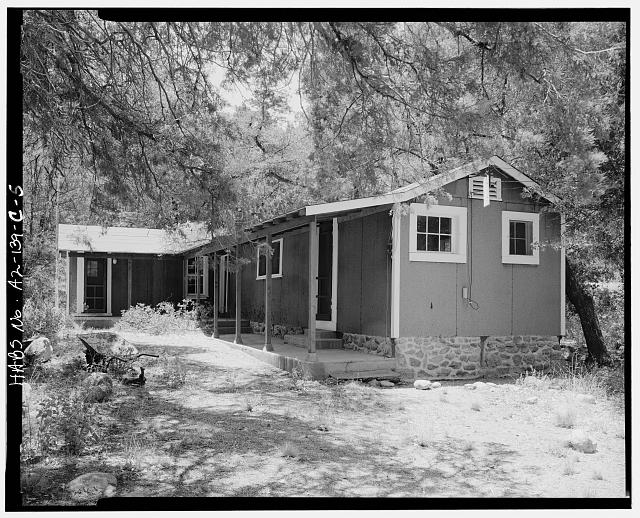 5.  COWBOY HOUSE, EAST FRONT AND NORTH SIDE LOOKING SOUTH - Faraway Ranch, Cowboy House, Willcox, Cochise County, AZ