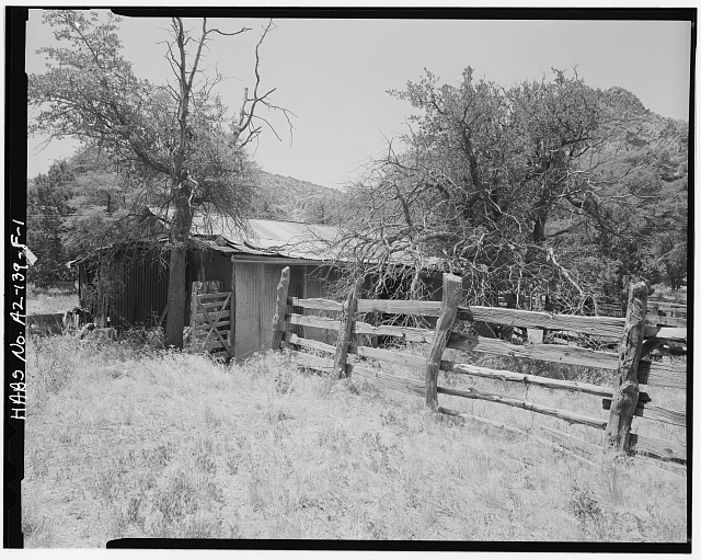 1.  CORRAL, NORTH CORRAL FENCE AND WEST SIDE OF BARN - Faraway Ranch, Barn & Tool Shed, Willcox, Cochise County, AZ