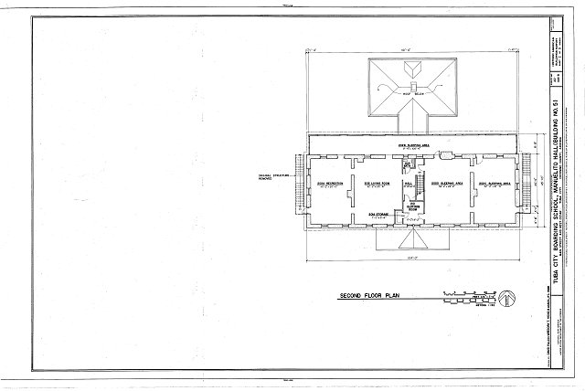 Second floor plan - Tuba City Boarding School, Manuelito Hall, Navajo Reservation, Main Street & West Cedar Avenue, Tuba City, Coconino County, AZ