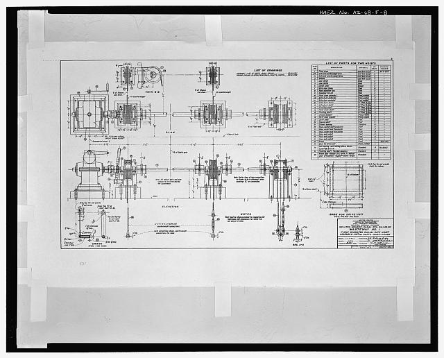 FLOAT OPERATED RADIAL GATE HOIST ASSEMBLY - LIST OF PARTS - BASE-CRANK. WASTEWAY NO. 1. WELLTON-MOHAWK CANAL - STA. 99+23.50. United States Department of the Interior, Bureau of Reclamation; Gila Project, Arizona, Wellton-Mohawk Division. Drawing No. 50-D-2511, dated May 3, 1949, Denver Colorado. Sheet 1 of 2 - Wellton-Mohawk Irrigation System, Wasteway No. 1, Wellton-Mohawk Canal, North side of Wellton-Mohawk Canal, bounded by Gila River to North & the Union Pacific Railroad & Gila Mountains to south, Wellton, Yuma County, AZ
