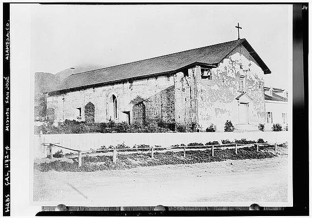 4.  Historic American Buildings Survey California Historical Society Original: About 1860's Re-photo: January 1940 VIEW FROM NORTHWEST 1797 - Mission San Jose de Guadalupe, Mission & Washington Boulevards, Fremont, Alameda County, CA