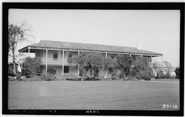 1.  Historic American Buildings Survey, Photographed by Dan Cathcart - March 8th, 1934. EAST ELEVATION (FRONT) - Casa de los Cerritos, 4600 American Avenue, Long Beach, Los Angeles County, CA