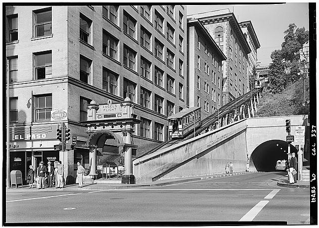 "1.   October 2, 1960 LOWER STATION - NORTHEAST ELEVATION - ""Angels Flight"", Third & Hill Streets, Los Angeles, Los Angeles County, CA"