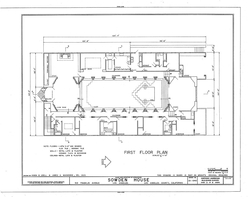 Habs cal 19 losan 69 sheet 3 of 8 sowden house 5121 for Floor plans los angeles