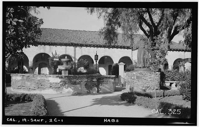 1.  Historic American Buildings Survey Photographed by Henry F. Withey March 1936 FOUNTAIN AND STATUE IN MISSION PARK AND MISSION MONASTERY (SOUTH FRONT) - Mission San Fernando Rey de Espana, Fountains, Mission Boulevard, San Fernando, Los Angeles County, CA