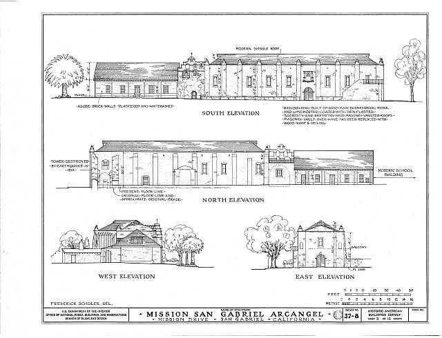 HABS CAL,19-SANGA,1- (sheet 5 of 12) - Mission San Gabriel Arcángel, 428 South Mission Drive, San Gabriel, Los Angeles County, CA