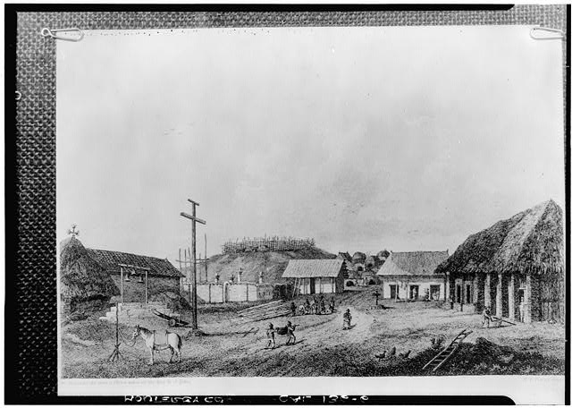 1.  Historic American Buildings Survey From Society of California Pioneers Original: About 1790 Re- photo: January 1940 (From old drawing by Sukes, showing first church at left, second church being built near center - about 1790) - Mission San Carlos Borromeo, Rio Road & Lausen Drive, Carmel-by-the-Sea, Monterey County, CA