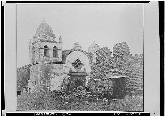 11.  Historic American Buildings Survey Photo by Maybridge VIEW OF FRONT OF CHURCH 1876 - Mission San Carlos Borromeo, Rio Road & Lausen Drive, Carmel-by-the-Sea, Monterey County, CA