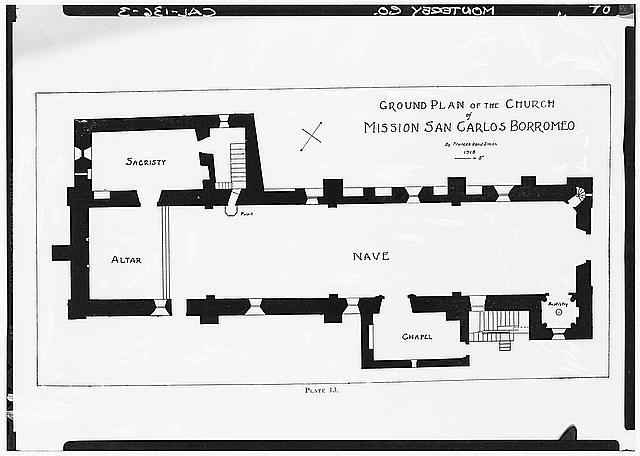 65.  Historic American Buildings Survey Plan Prepared by Frances Rand Smith GROUND PLAN OF THE CHURCH - Mission San Carlos Borromeo, Rio Road & Lausen Drive, Carmel-by-the-Sea, Monterey County, CA