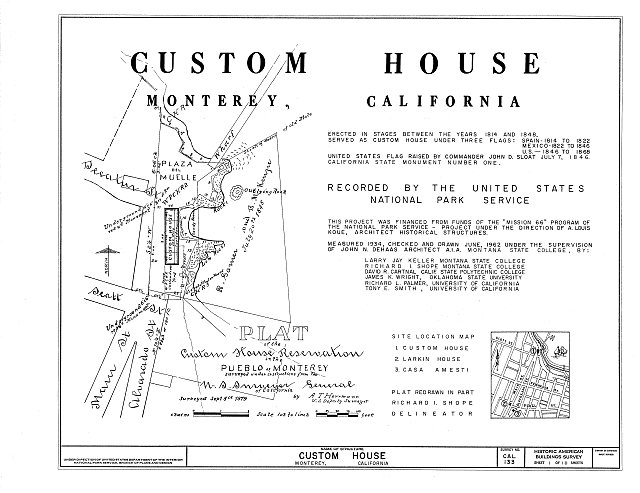 HABS CAL,27-MONT,14- (sheet 1 of 10) - Custom House, Custom House Plaza, Monterey, Monterey County, CA