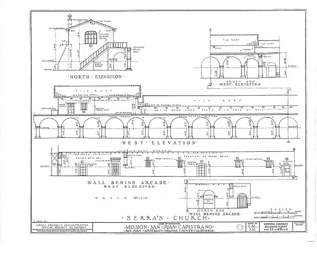 HABS CAL,30-SAJUC,1- (sheet 12 of 40) - Mission San Juan Capistrano, Olive Street, between U.S. Highway 101 & Main Street, San Juan Capistrano, Orange County, CA
