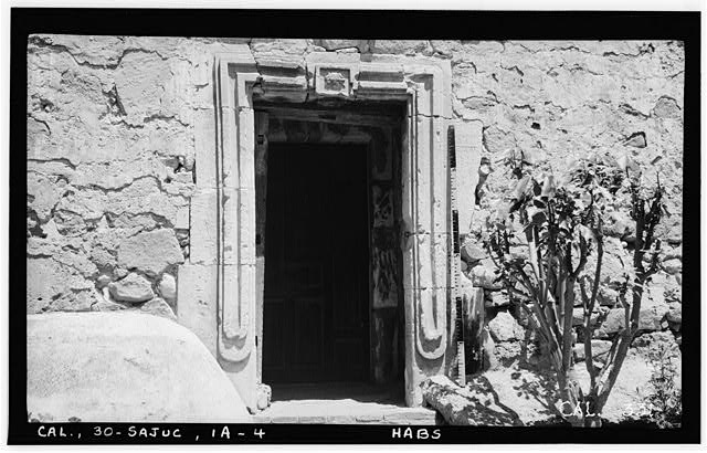 4.  Historic American Buildings Survey Photographed by Henry F. Withey June 1936 STONE CHURCH, DOOR FROM SACRED GARDEN TO SACRISTY - Mission San Juan Capistrano, Stone Church, Olive Street, between U.S. Highway 101 & Main Street, San Juan Capistrano, Orange County, CA