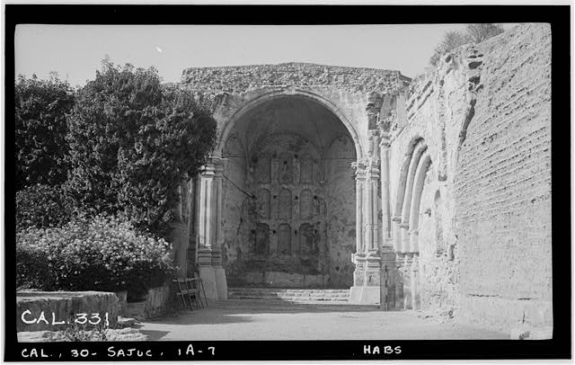 7.  Historic American Buildings Survey Photographed by Henry F. Withey June 1936 STONE CHURCH, NAVE TOWARDS SANCTUARY - Mission San Juan Capistrano, Stone Church, Olive Street, between U.S. Highway 101 & Main Street, San Juan Capistrano, Orange County, CA