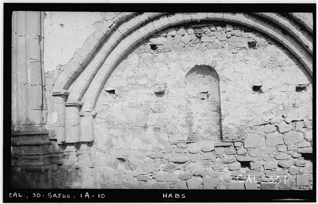 10.  Historic American Buildings Survey Photographed by Henry F. Withey June 1936 STONE CHURCH, NAVE PANEL, EAST WALL - Mission San Juan Capistrano, Stone Church, Olive Street, between U.S. Highway 101 & Main Street, San Juan Capistrano, Orange County, CA