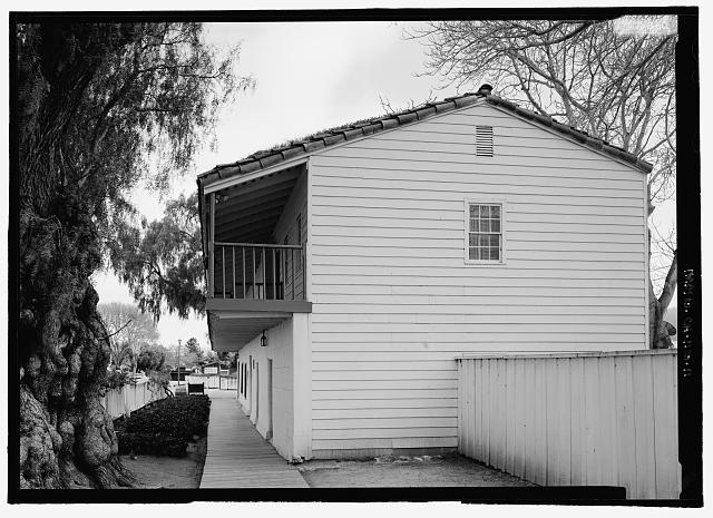 Perspective view of officer's quarters from northwest - General Jose Castro House, Mission Plaza, San Juan Bautista, San Benito County, CA
