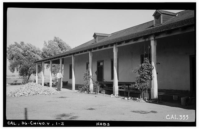 2.  Historic American Buildings Survey Photographed by Henry F. Withey June 18, 1936 VIEW OF PORCH ON FRONT (NORTH WEST) - Slaughter House, Prado Road, Chino, San Bernardino County, CA
