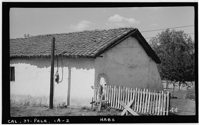 5.  Historic American Buildings Survey Photographed by Henry F. Withey October 1936 VIEW OF CHAPEL FROM SOUTHEAST. - Asistencia of San Antonio de Pala, Mission Road, Pala, San Diego County, CA