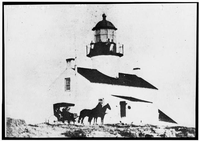 2.  Historic American Buildings Survey (copy) Taken Before Mar. 23, 1891 WEST FRONT OF LIGHTHOUSE - Point Loma Lighthouse No. 355, (moved), San Diego, San Diego County, CA