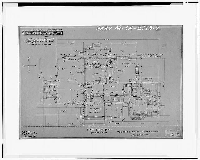 2.  FIRST FLOOR PLAN, 1906 - Mary Cossitt House, 3526 Seventh Avenue, San Diego, San Diego County, CA