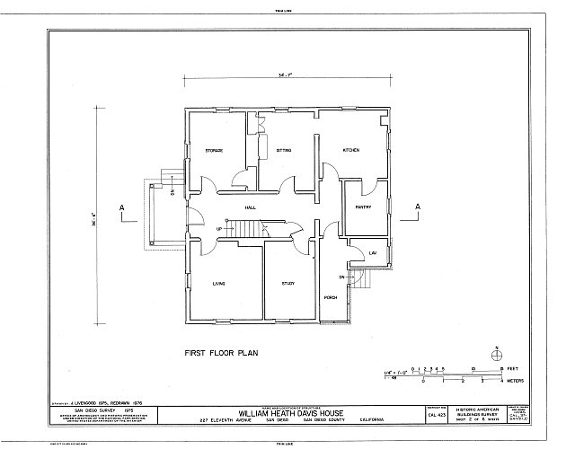 HABS CAL,37-SANDI,2- (sheet 2 of 6) - William Heath Davis House, 227 Eleventh Avenue, San Diego, San Diego County, CA