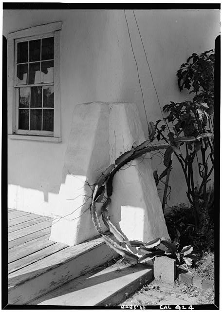 4.   October 1960 DETAIL OF WINDOW & BUTTRESS AT ADOBE - George Derby House, 4017 Harney Street, San Diego, San Diego County, CA