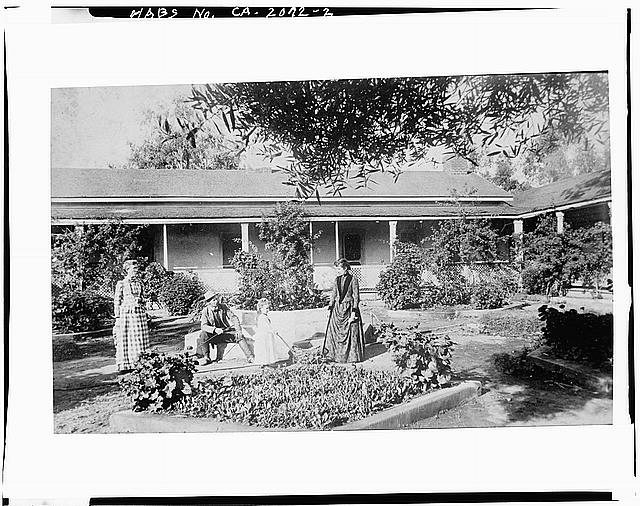 2.  COURTYARD, 1890 (photograph from Title Insurance Collection, San Diego Historical Society. Photocopy 1975 by Bert Shankland, San Diego). - Johnson-Taylor Ranch House, Black Mountain Road vicinity, Rancho Penasquitos, San Diego County, CA