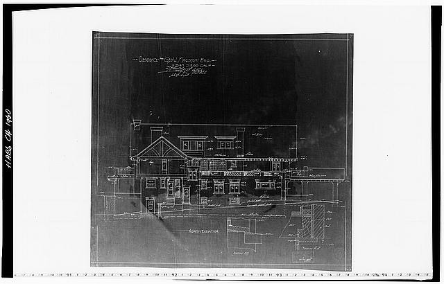 11.  Historic American Buildings Survey Mr. Walker, Draftsman of Hebbard and Gill, Architects October 28, 1904 BLUEPRINT OF ORIGINAL DRAWING OF NORTH ELEVATION From the Collection of the San Diego Historical Society - George W. Marston House, 3525 Seventh Avenue, San Diego, San Diego County, CA