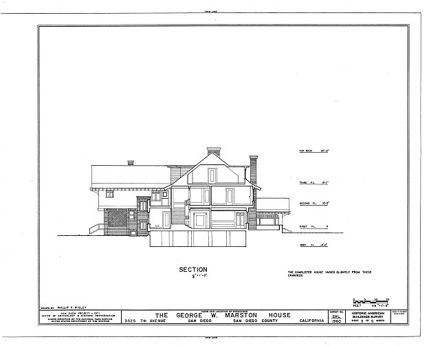 HABS CAL,37-SANDI,10- (sheet 5 of 5) - George W. Marston House, 3525 Seventh Avenue, San Diego, San Diego County, CA