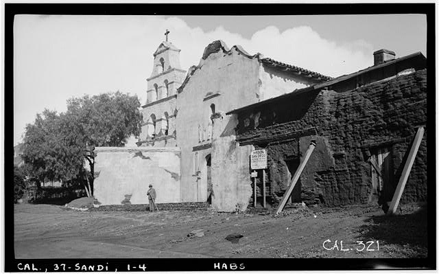 4.  Historic American Buildings Survey Photographed by Henry F. Withey, December, 1936 SOUTH FACADE TOWARD WEST. - Mission San Diego de Alcala, Misson Valley Road, San Diego, San Diego County, CA