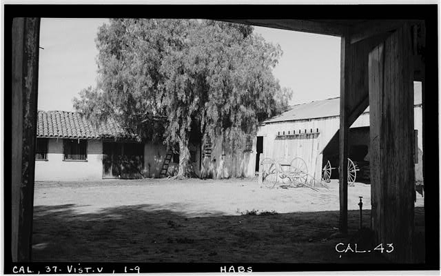 9.  Historic American Buildings Survey Photographed by Henry F. Withey November 1936 NORTH CORNER OF CARRIAGE COURT - Casa de Rancho Guajome, San Luis Rey, San Diego County, CA