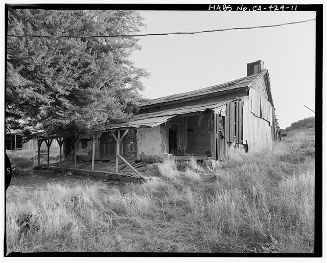 North and west elevations.  Camera facing southeast. - Warner Ranch, Ranch House, San Felipe Road (State Highway S2), Warner Springs, San Diego County, CA