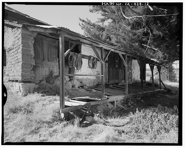 Porch on north elevation.  Camera facing southwest. - Warner Ranch, Ranch House, San Felipe Road (State Highway S2), Warner Springs, San Diego County, CA