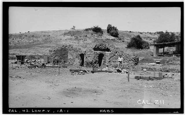 1.  Historic American Buildings Survey Photographed by Henry F. Withey, May 1937 CHURCH RUINS FROM SOUTH EAST. - Mission La Purisima Concepcion, Lompoc, Santa Barbara County, CA