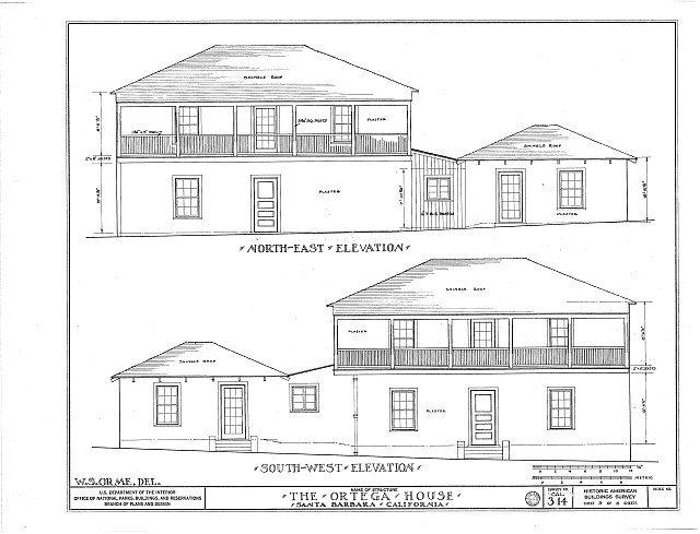 HABS CAL,42-MONT,1- (sheet 3 of 5) - Ortega House, 29 Sheffield Drive, Montecito, Santa Barbara County, CA