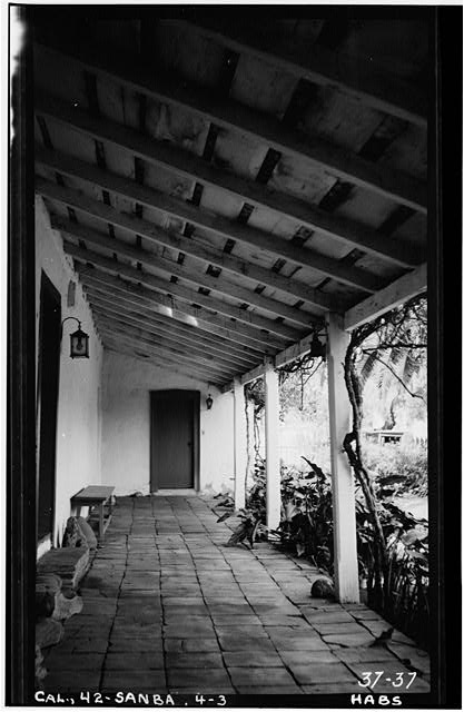 3.  Historic American Buildings Survey Photographed by C. A. Fletcher April 20, 1934 NORTH PORCH LOOKING WEST - Mrs. A. L. M. Vhay House, 835 Leguna Street, Santa Barbara, Santa Barbara County, CA
