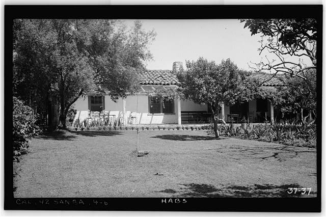 6.  Historic American Buildings Survey Photographed by H. F. Withey April 4, 1934 VIEW OF SOUTH FRONT - Mrs. A. L. M. Vhay House, 835 Leguna Street, Santa Barbara, Santa Barbara County, CA