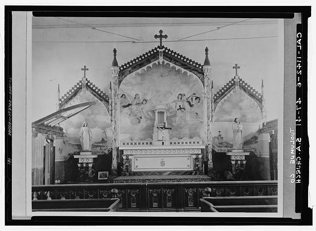 6.  Historic American Buildings Survey INTERIOR VIEW OF ALTAR - St. Anne's Church, Church Street, Columbia, Tuolumne County, CA