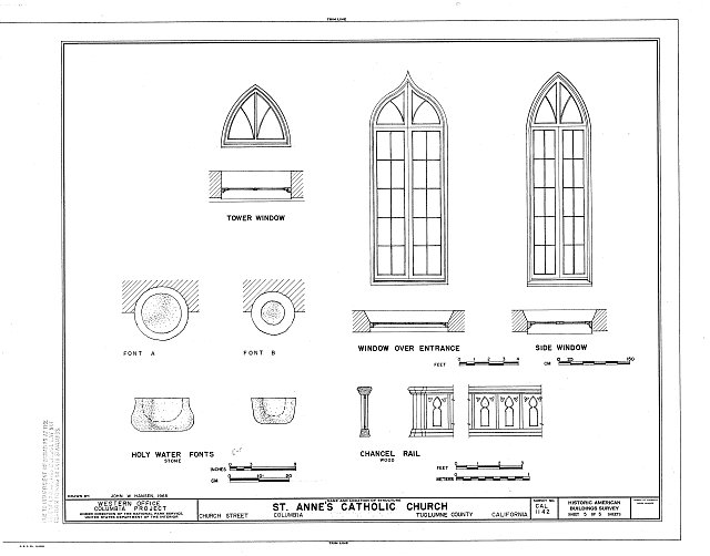 HABS CAL,55-COLUM,2- (sheet 5 of 5) - St. Anne's Church, Church Street, Columbia, Tuolumne County, CA