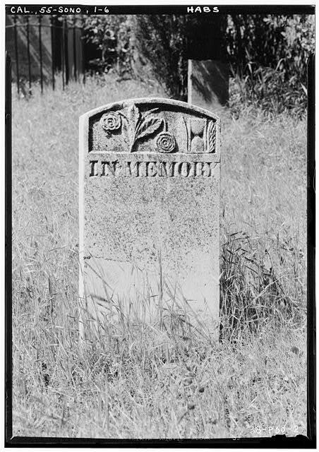 6.  Historic American Buildings Survey Roger Sturtevant, Photographer Apr. 5, 1934 UNNAMED STONE, JEWISH CEMETERY, SONORA - Grave Stones, Jewish Cemetery, Yaney Avenue, Sonora, Tuolumne County, CA