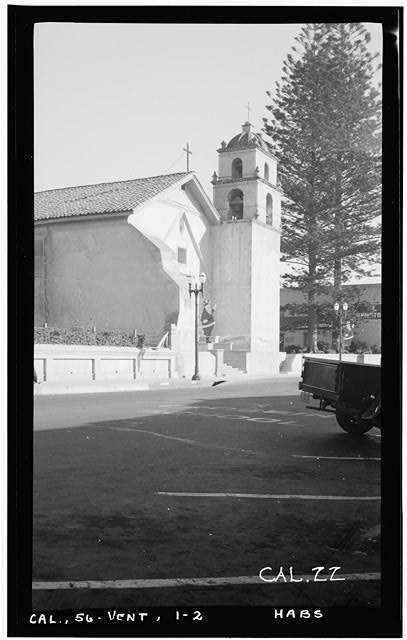 2.  Historic American Buildings Survey Photographed by Henry F. Withey December, 1936 FRONT FACADE FROM SOUTH WEST. - Mission San Buenaventura, East Main Street & South Figueroa Street, Ventura, Ventura County, CA