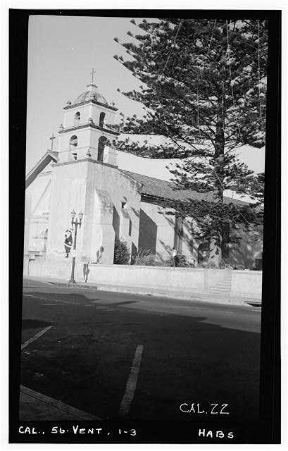 3.  Historic American Buildings Survey Photographed by Henry F. Withey December, 1936. SOUTH AND EAST FACADE. - Mission San Buenaventura, East Main Street & South Figueroa Street, Ventura, Ventura County, CA
