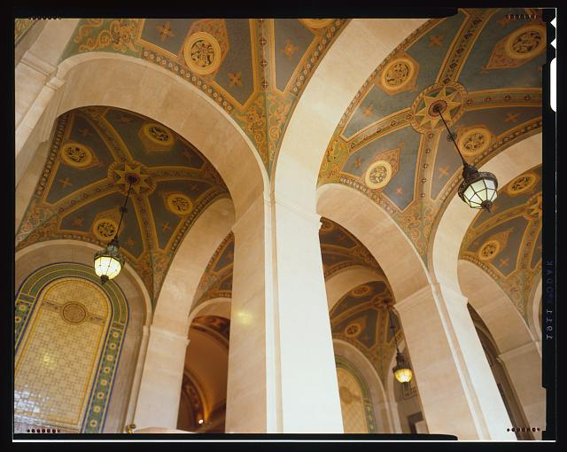 Monica Griesbach, Photographer August 1997. DETAIL OF LOS ANGELES CITY HALL THIRD FLOOR SHOWING NORTH LOBBY CEDING, FACING UP - Los Angeles City Hall, 200 North Spring Street, Los Angeles, Los Angeles County, CA