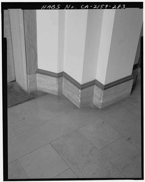 Monica Griesbach, Photographer August 1997. DETAIL OF LOS ANGELES CITY HALL FOURTEENTH FLOOR ELEVATOR LOBBY BASEBOARD, FACING SOUTHWEST - Los Angeles City Hall, 200 North Spring Street, Los Angeles, Los Angeles County, CA